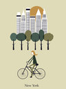 Girl on a bicykle in new york vector Stock Photo