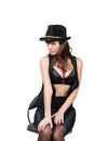 Girl with big breasts in a hat Royalty Free Stock Photo