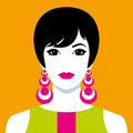 Girl with big colorful earrings