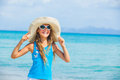 Girl in big hat relax ocean background Royalty Free Stock Image