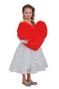 Girl and a big red heart Royalty Free Stock Photo