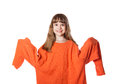 Girl in big sweater isolation on a white background Royalty Free Stock Photo