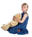 The girl with a big teddy bear Stock Photos