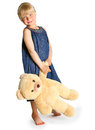 The girl with a big teddy bear Stock Images