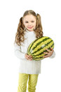 Girl with big toy watermelon on a white background. Royalty Free Stock Photo