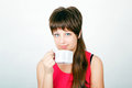 Girl with a big white mug Royalty Free Stock Photos