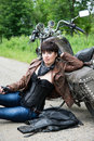 Girl on a bike stylish Stock Image
