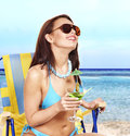 Girl in bikini on beach. Royalty Free Stock Photography