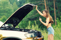 Girl in bikini and car Royalty Free Stock Photo