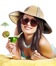 Girl in bikini drink juice through straw. Stock Photo
