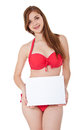 Girl in bikini holding blank sign Royalty Free Stock Photo