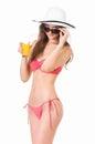 Girl in bikini with orange juice Royalty Free Stock Photo
