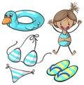 Girl in bikini and swimming set Royalty Free Stock Photo