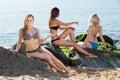 Girl in bikini taking sunbath Royalty Free Stock Photo