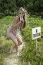 Girl in bikini trespassing beautiful blond hawaii Stock Images