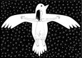 Girl and bird flying in the night sky, black and white image, horizontal Royalty Free Stock Photo