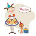 Girl with birthday cake illustration in format Royalty Free Stock Photography