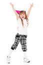 Girl in birthday cap funny isolated on white Royalty Free Stock Photo