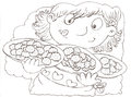 A girl with biscuits chine coloring for kids Royalty Free Stock Photo