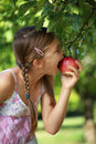 Girl biting into an apple Royalty Free Stock Photo