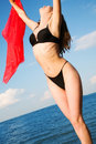 Girl in a black bathing suit Stock Images