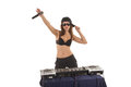 Girl in the black bra with the mixer Royalty Free Stock Photo