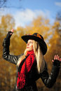 Girl in a black cowboy hat Royalty Free Stock Photos
