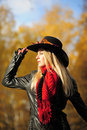 Girl in a black cowboy hat Stock Images