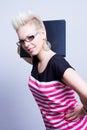 Girl with black folder Royalty Free Stock Photo