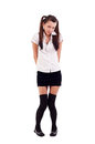 Girl in black short skirt Royalty Free Stock Photos