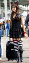 Girl in black and white kitten cosplay Royalty Free Stock Photo