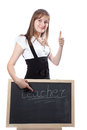 Girl about a blackboard Royalty Free Stock Images