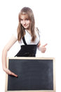 Girl about a blackboard Stock Photos