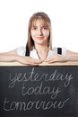 Girl about blackboard with inscriptions Stock Image