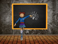 Girl with blackboard and lightbulb Royalty Free Stock Images