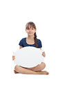Girl with blank board Stock Photography