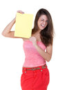 Girl with a blank sheet of paper winks Stock Photography