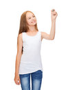 Girl in blank white shirt drawing something design concept smiling teenage or writing the air Stock Photos