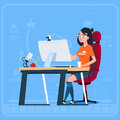 Girl Blogger Sit At Computer Streaming Video Blogs Creator Popular Vlog Channel Royalty Free Stock Photo