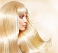 Girl with blond hair fashion healthy long smooth Stock Images