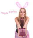 Girl  blond hair with rabbit ears Royalty Free Stock Photo