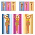 Girl blonde in bikini on towel set illustration Royalty Free Stock Photo