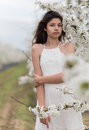 Girl and a blooming cherry tree Royalty Free Stock Photo