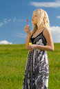 Girl blowing bubbles on meadow Stock Photography