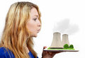 Girl blowing smoke nuclear power plant isolated white Stock Photo