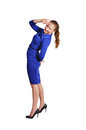 Girl in a blue dress photo of beautiful Royalty Free Stock Photos
