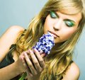 Girl with blue flower romantic portrait of young blond woman flowers Royalty Free Stock Image