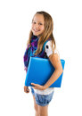 Girl with blue folder Royalty Free Stock Image