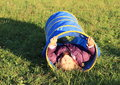 Girl in blue kids tunnel little lying for Stock Image