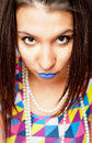 Girl with blue lips portrait of beautiful Royalty Free Stock Image